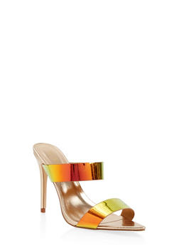 Iridescent Strap High Heel Mules - GREEN - 1111004063925