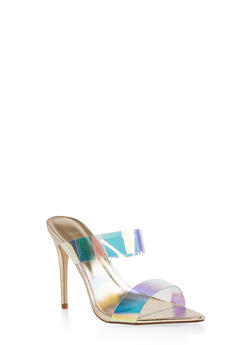 Iridescent Strap High Heel Mules - GOLD - 1111004063925