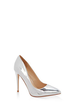 Pointed Toe Stilettos - SILVER PATENT - 1111004064424