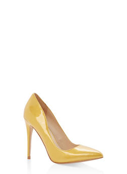 Pointed Toe Stilettos - YELLOW PATENT - 1111004064424