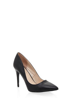 Pointed Toe Stilettos - BLACK PU - 1111004064424