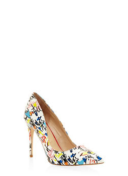 Pointed Toe Stilettos - WHITE MULTI - 1111004064424
