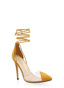 Cap Toe Lace Up High Heel Pumps - YELLOW - 1111004064427