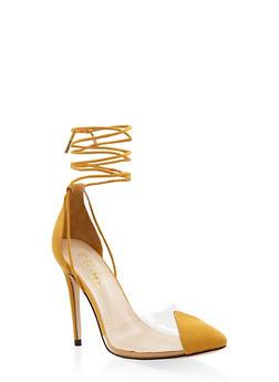 Cap Toe Lace Up High Heel Pumps - 1111004064427