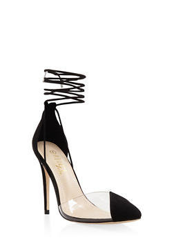 Cap Toe Lace Up High Heel Pumps - BLACK SUEDE - 1111004064427