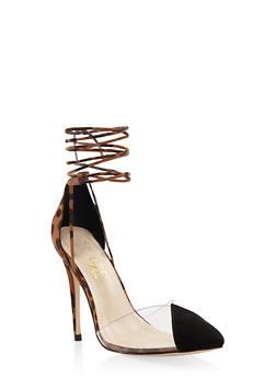 Cap Toe Lace Up High Heel Pumps - LEOPARD PRINT - 1111004064427