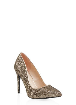 Glitter Mesh Pointed Toe Pumps - GOLD - 1111004064428