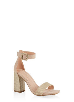 One Band Chunky Block Heel Sandals - 1111004066424