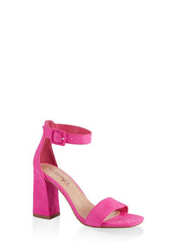 Single Band High Block Heel Sandals - NEON PINK - 1111004066427