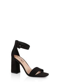 Single Band High Block Heel Sandals - BLACK SUEDE - 1111004066427