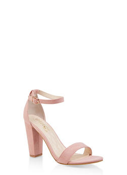 Ankle Strap Block High Heel Sandals - MAUVE - 1111004067268
