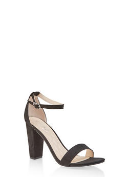 Ankle Strap Block High Heel Sandals - BLACK SUEDE - 1111004067268