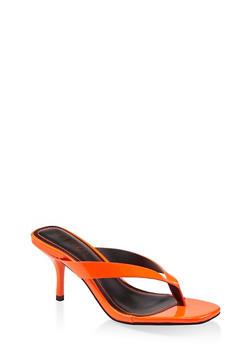 Mid Heel Thong Sandals - NEON ORANGE - 1111004067338