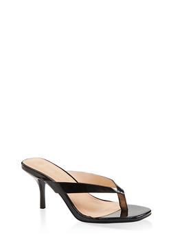 Mid Heel Thong Sandals - BLACK PATENT - 1111004067338
