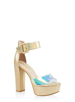Ankle Strap High Heel Platform Sandals - GOLD - 1111004067464
