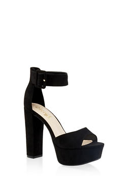 Ankle Strap High Heel Platform Sandals - BLACK SUEDE - 1111004067464