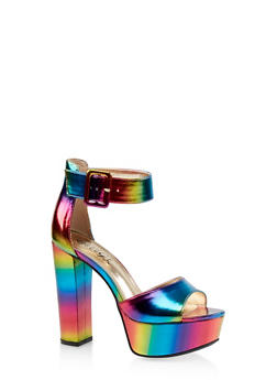 Ankle Strap High Heel Platform Sandals - MULTI COLOR - 1111004067464