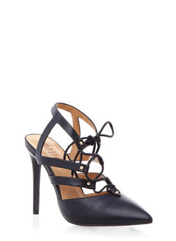 Pointy Toe Caged Heels with Lace Up Front - 1111004067474