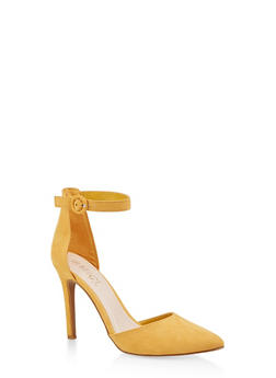 Ankle Strap High Heel Pumps - YELLOW - 1111004067542