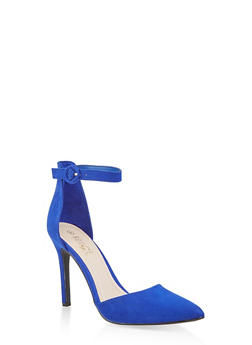 e525276cfe99 Ankle Strap High Heel Pumps - BLUE - 1111004067542