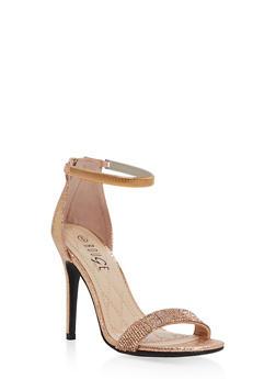 Rhinestone Strap High Heel Sandals - ROSE GOLD CMF - 1111004067697