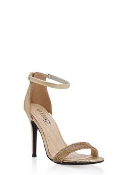 Rhinestone Strap High Heel Sandals - GOLD CMF - 1111004067697