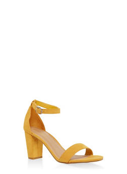 Ankle Strap High Heel Sandals - YELLOW - 1111004067876