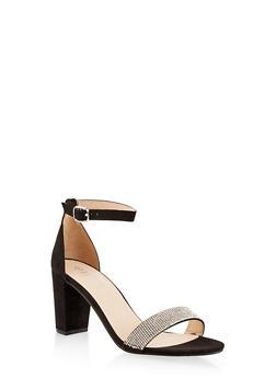 Rhinestone Ankle Strap Sandals - BLACK SUEDE - 1111004067878