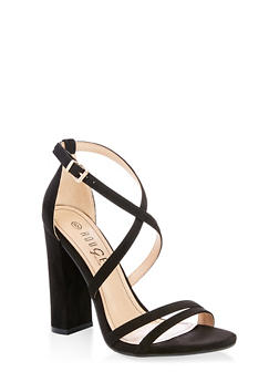 Cross Ankle Strap High Heel Sandals - BLACK SUEDE - 1111004067933