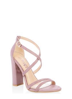 Cross Ankle Strap High Heel Sandals - PURPLE S - 1111004067933