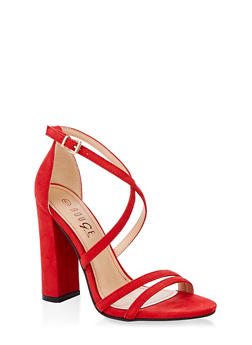 Cross Ankle Strap High Heel Sandals - RED S - 1111004067933