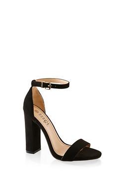 Ankle Strap Block Heel Sandals - BLACK SUEDE - 1111004067934