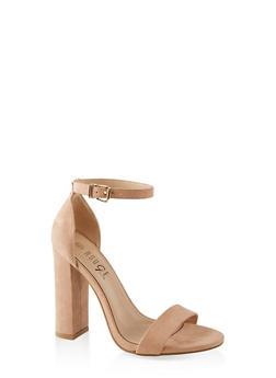 Ankle Strap Block Heel Sandals - NUDE - 1111004067934