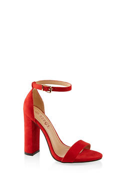 Ankle Strap Block Heel Sandals - RED S - 1111004067934