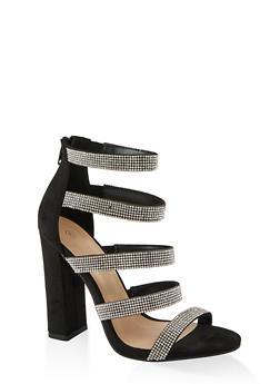 Multi Rhinestone Strap High Heel Sandals - BLACK SUEDE - 1111004067935
