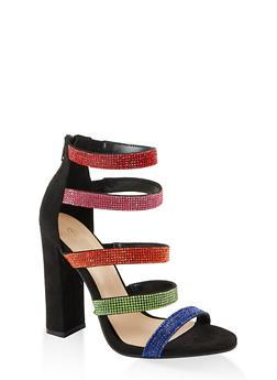 Multi Rhinestone Strap High Heel Sandals - BLACK MULTI - 1111004067935