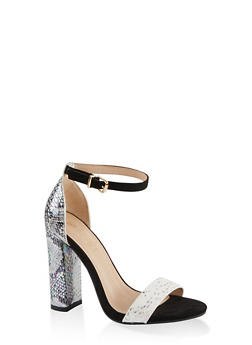 Printed Single Band High Heel Sandals - 1111004067936