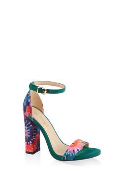 Printed Single Band High Heel Sandals - GREEN S - 1111004067936