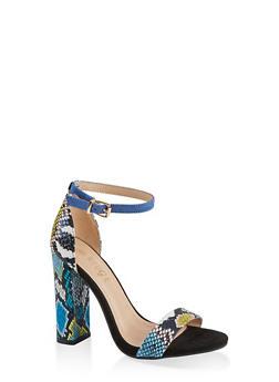 Printed Single Band High Heel Sandals - BLUE MULTI - 1111004067936