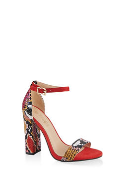 Printed Single Band High Heel Sandals - RED SKIN PRINT - 1111004067936