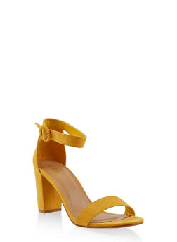 Ankle Strap Block Heel Sandals - YELLOW - 1111004067979