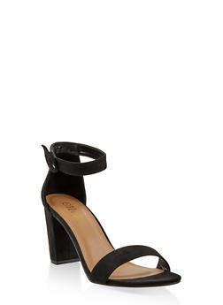 Ankle Strap Block Heel Sandals - BLACK SUEDE - 1111004067979