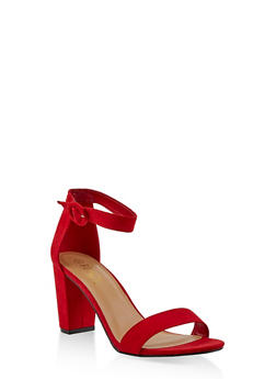 Ankle Strap Block Heel Sandals - RED S - 1111004067979