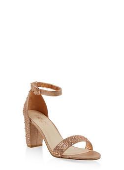 Rhinestone Studded Block Heel Sandals - ROSE - 1111004067980