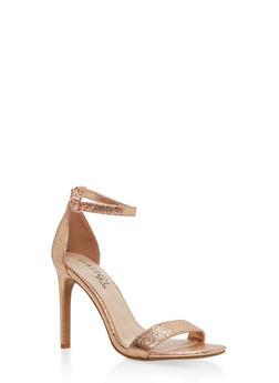 High Heel Ankle Strap Sandals - ROSE GOLD CMF - 1111004068463