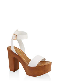 Ankle Strap Platform Sandals - WHITE - 1111004069664