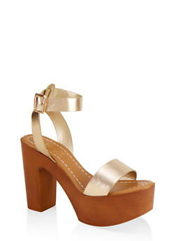Ankle Strap Platform Sandals - GOLD - 1111004069664