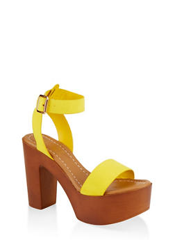 Ankle Strap Platform Sandals - YELLOW S - 1111004069664