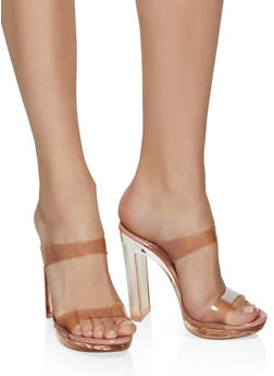Two Band Clear Heel Mules - ROSE - 1111006515669