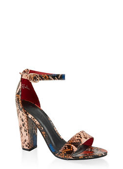Snake Print Ankle Strap High Heel Sandals - 1111014066273